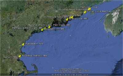 Map of the 11 sites surveyed in the Gulf of Maine