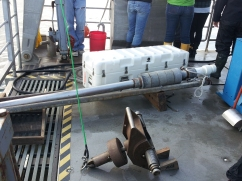 Grab sampler (front) and corer ready for use!