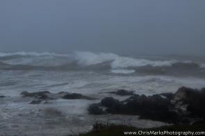 The same beach, Canoe Beach, during Hurricane Sandy. The waves are near 10 feet high in this photo