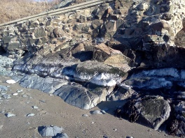 Ice layer in the high intertidal