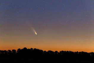 In case you were wondering, this is Comet Pan-Starrs. Thanks to Boston light pollution, it was not visible to the naked eye in Framingham. http://www.space.com/20056-comet-panstarrs-march-night-sky.html