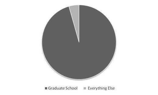 """The proportion of megabytes for """"Graduate School"""" and for """"Everything Else"""""""